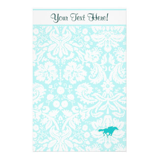 Teal Horse Racing Personalized Stationery