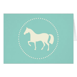 Teal horse silhouette greeting card (horizontal)