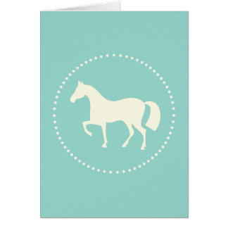 Teal horse silhouette greeting cards (vertical)