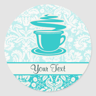 Teal Hot Coffee Classic Round Sticker