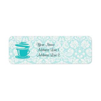 Teal Hot Coffee Return Address Label