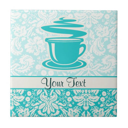 Teal Hot Coffee Small Square Tile