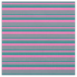 [ Thumbnail: Teal, Hot Pink, and Slate Gray Colored Stripes Fabric ]