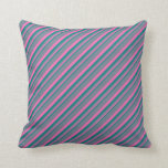 [ Thumbnail: Teal, Hot Pink, and Slate Gray Colored Stripes Throw Pillow ]
