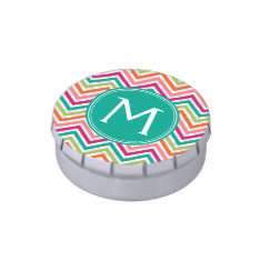 Teal & Hot Pink Chevron Pattern with Monogram Candy Tins at Zazzle