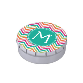 Teal & Hot Pink Chevron Pattern with Monogram Candy Tins