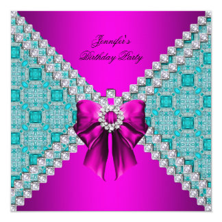Teal Hot Pink Diamonds Elegant Birthday Party Card