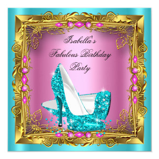 Teal Hot Pink Glitter High Heels Birthday Party Card