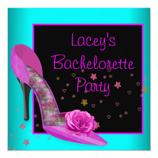 Teal Hot Pink High Heel Corset Bachelorette Party 5.25x5.25 Square Paper Invitation Card