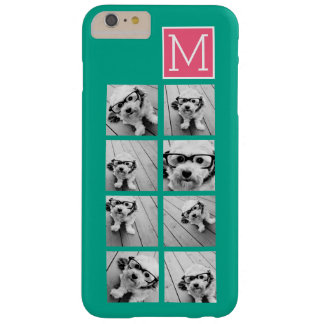Teal & Hot Pink Instagram 8 Photo Collage Monogram Barely There iPhone 6 Plus Case