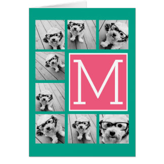 Teal & Hot Pink Instagram 8 Photo Collage Monogram Card