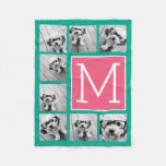 Teal & Hot Pink Instagram 8 Photo Collage Monogram Fleece Blanket at Zazzle