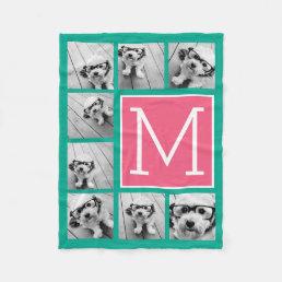 Teal & Hot Pink Instagram 8 Photo Collage Monogram Fleece Blanket