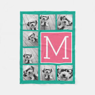 Teal & Hot Pink Instagram 8 Photo Collage Monogram Fleece Blanket