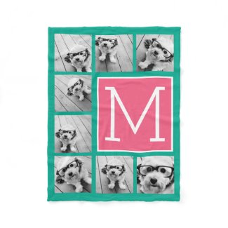 Teal & Hot Pink Instagram 8 Photo Collage Monogram