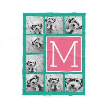 MarshEnterprises Teal & Hot Pink Instagram 8 Photo Collage Monogram Fleece Blanket