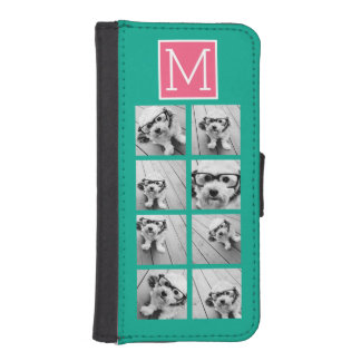 Teal & Hot Pink Instagram 8 Photo Collage Monogram iPhone SE/5/5s Wallet