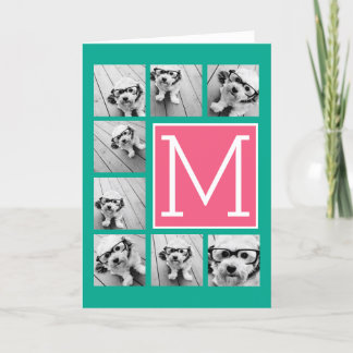 Teal & Hot Pink Instagram 8 Photo Collage Monogram Note Card