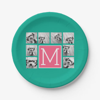 Teal & Hot Pink Instagram 8 Photo Collage Monogram Paper Plate