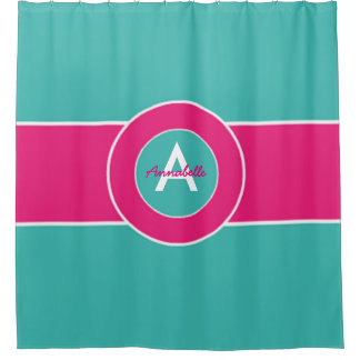 Teal Hot Pink Monogram Personalized Shower Curtain