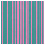 [ Thumbnail: Teal & Hot Pink Striped Pattern Fabric ]