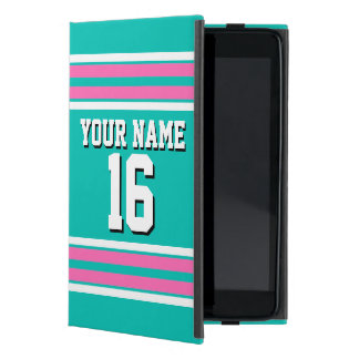 Teal Hot Pink Team Jersey Custom Number Name Cover For iPad Mini