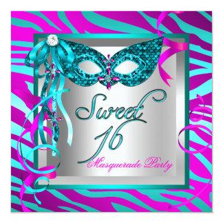 Teal Hot Pink Zebra Masquerade Sweet 16 Sixteen Card