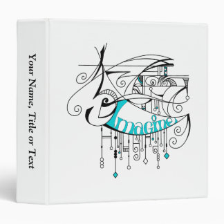 Teal Imagine In Lines and Dangles Binder