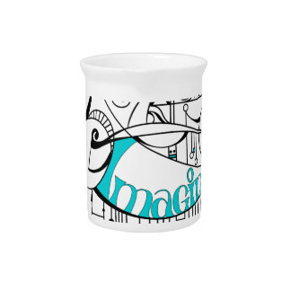 Teal Imagine In Lines and Dangles Drink Pitcher
