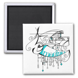 Teal Imagine In Lines and Dangles Magnet