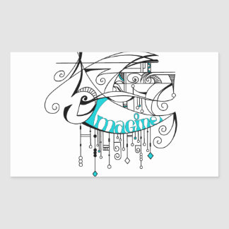 Teal Imagine In Lines and Dangles Rectangle Sticker