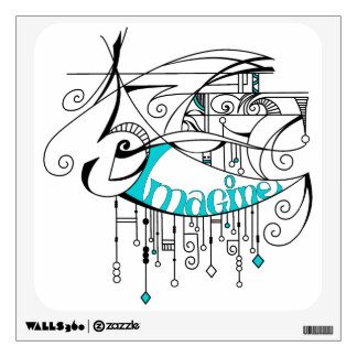 Teal Imagine In Lines and Dangles Wall Decal