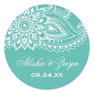 Teal Indian Paisley Wedding Envelope Seals