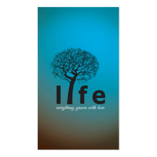 Teal Inspirational Life Tree Quote Business Cards