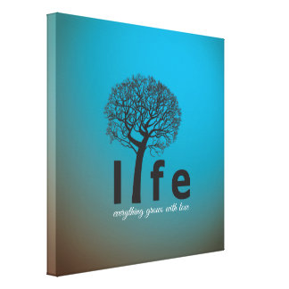 Teal Inspirational Life Tree Quote Gallery Wrap Canvas