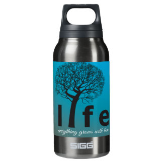 Teal Inspirational Life Tree Quote Insulated Water Bottle