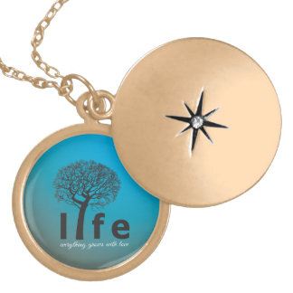 Teal Inspirational Life Tree Quote Locket Necklace