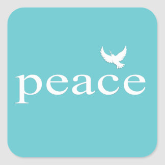 Teal Inspirational Peace Quote Square Stickers