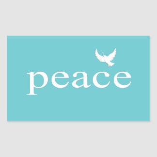 Teal Inspirational Peace Quote Rectangular Sticker