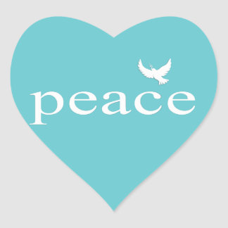 Teal Inspirational Peace Quote Heart Stickers