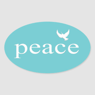 Teal Inspirational Peace Quote Stickers
