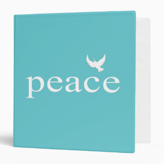 Teal Inspirational Peace Quote Vinyl Binders