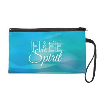 Teal Inspirational Spritiual Freedom Quote Wristlet Purses
