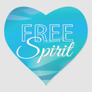 Teal Inspirational Spritiual Freedom Quote Heart Sticker