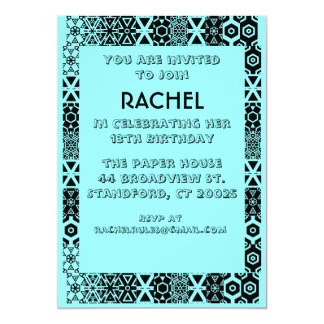 Teal invitation with black and white design