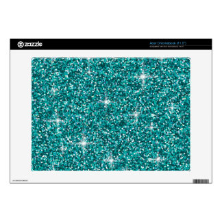 Teal iridescent glitter acer chromebook skin