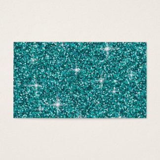 Teal iridescent glitter business card