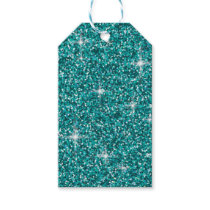 Teal iridescent glitter gift tags