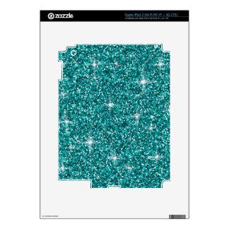 Teal iridescent glitter iPad 3 skins