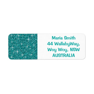 Teal iridescent glitter label